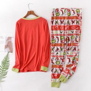 Image 2 - Heißer verkauf Weihnachten Frauen pyjamas Plus größe winter stricken baumwolle pyjama sets frauen Frische grün langarm casual nachtwäsche frauen