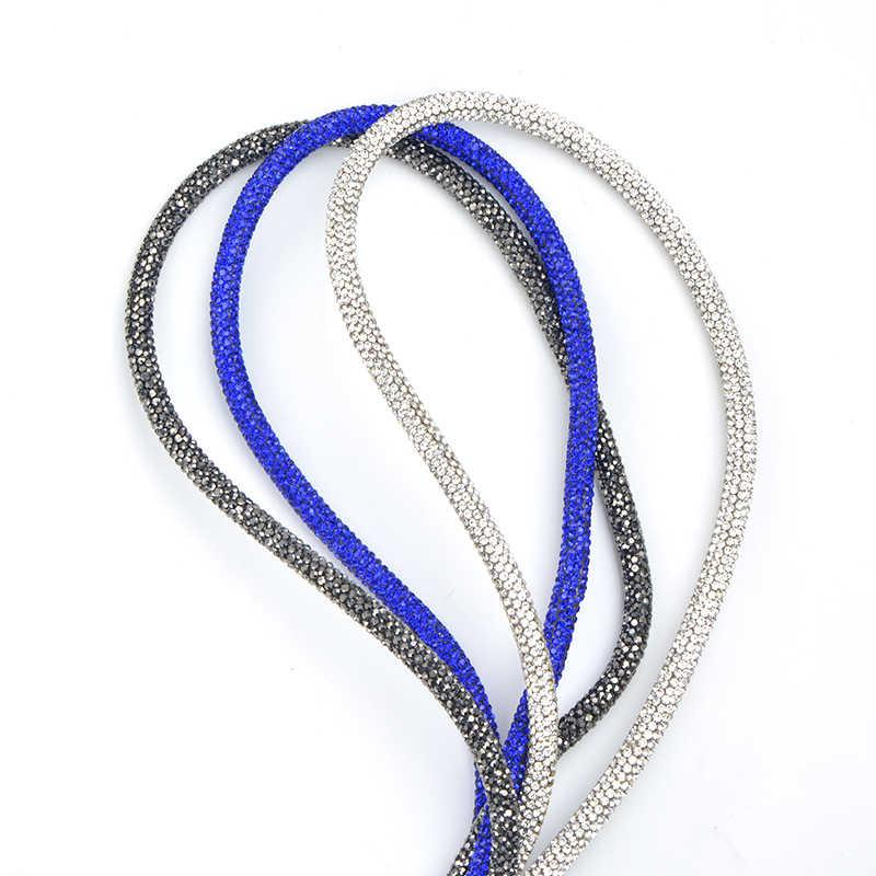 JUNAO 40 センチメートルアクアブルーガラスラインストーンチェーントリムチューブクリスタルストーンブレスレットビーズ非縫製ラインストーンのためのジュエリーストラップ