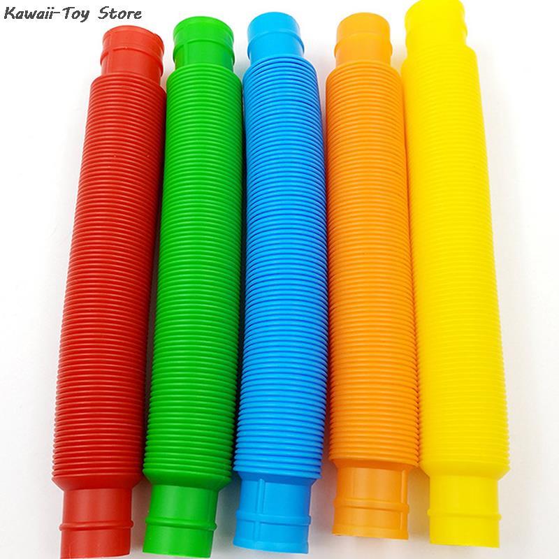 5Pcs Mini Pop Tubes Sensory Toy For Adult Fidget Stress Relieve Toys Kid Autism Anti Stress Plastic Bellows Children Squeeze Toy 3