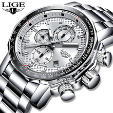 2020 LIGE Fashion Silver Mens Watches Top Luxury Brand Stainless Steel 30m Water