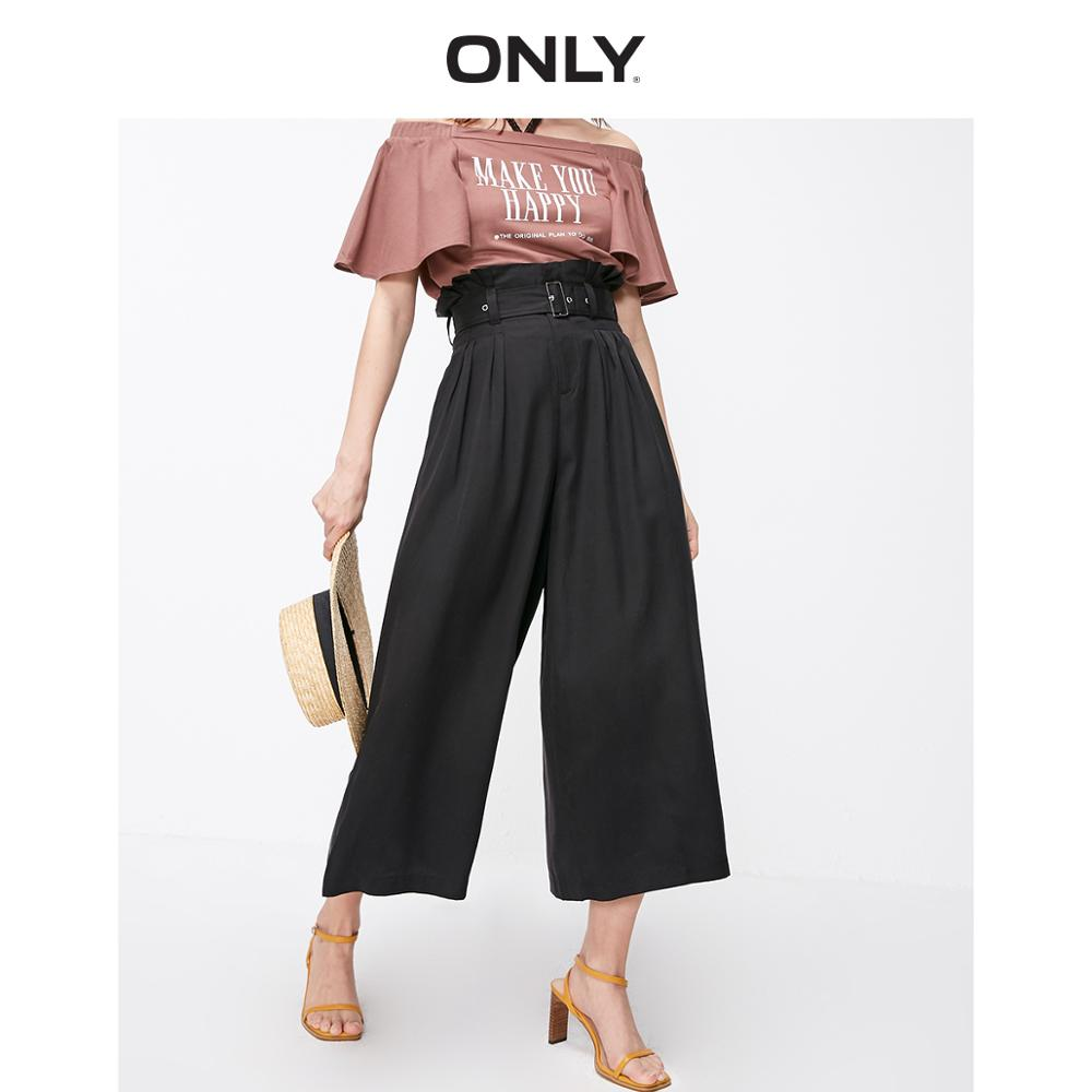 ONLY Women's Loose Fit High-rise Waist Belt Wide-leg Crop Pants | 11916J514