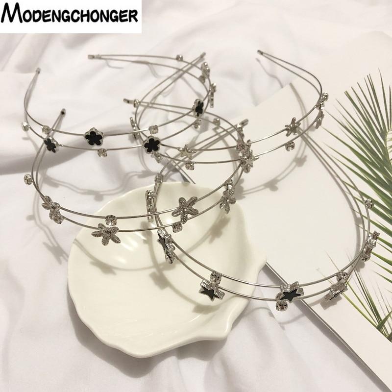 New Women Sweet Wide-brimmed Rhinestone Hairpin Headband with Diamond Double Hair band Fashion Simple Hair Accessories Headwear