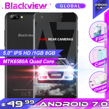 "Blackview A7 Mobile Phone Android 7.0 MTK6580A Quad Core 5.0 "" 1GB 8GB 3 Cameras 3G WCDMA 2800mAh Dual SIM Smartphone"