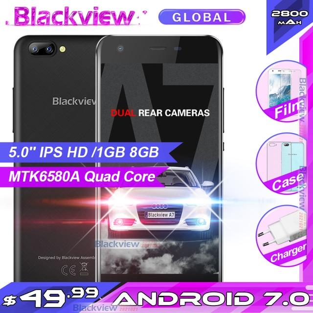 """Blackview A7 telefon komórkowy Android 7.0 MTK6580A czterordzeniowy 5.0 """"1 GB 8GB 3 kamery 3G WCDMA 2800mAh smartfon dual sim"""