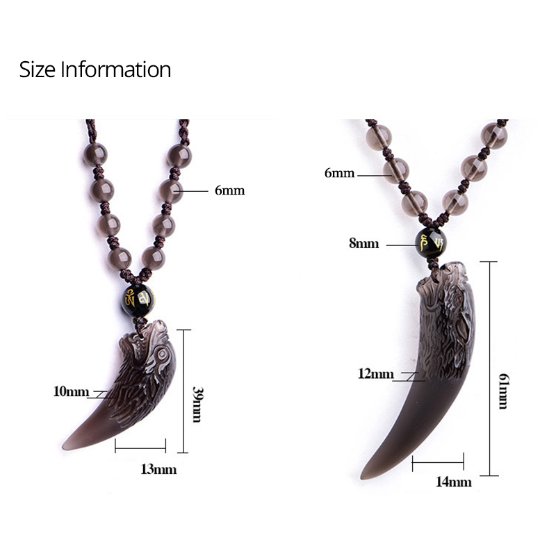 Pendant Necklace Amulets Talismans Wolf Tooth Ice-Obsidian Natural-Stone Black Women