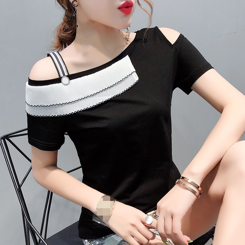 Korean Sexy Slash Neck Patchwork Tshirt 2019 New Women Short Sleeve Top Shirt Clothes Streetwear Camiseta Mujer Black T96513