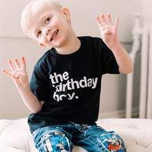 Aniversário do Menino Crianças Meninos Camisa Engraçada de T de T-shirt para o Aniversário de Crianças Roupas de Verão Da Família Roupas de Festa de Aniversário Das Crianças Desgaste