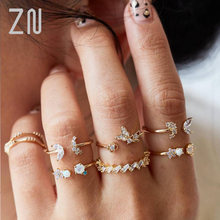 Женское Драгоценное кольцо в виде бабочки Луны и звезд