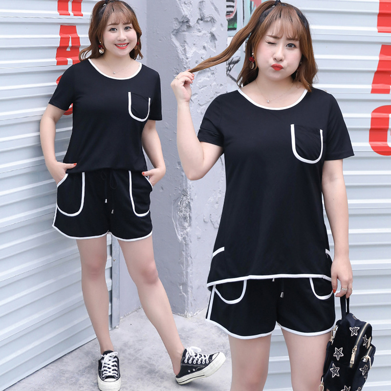 2019 Summer New Style Large GIRL'S Plus-sized WOMEN'S Dress Loose Casual Two-Piece Set Sports Clothing Wholesale 1207