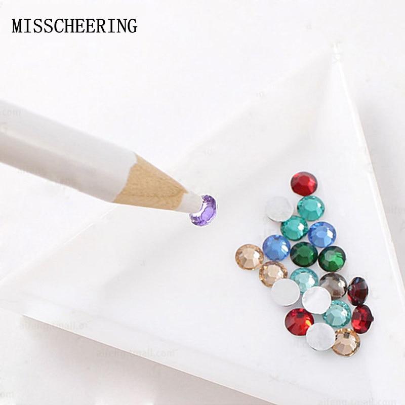 1pcs Wood Handle Nail Art Dotting Pen Adsorb Rhinestones Gems Decorations Stick On Nails Manicure Design Tools