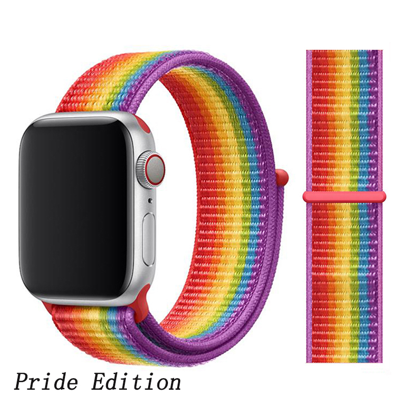 Спортивная петля ремешок apple watch band 42 мм 38 мм apple watch 4 3 band iwatch band 44 мм 40 мм correa pulseira 42 44 нейлоновый ремешок для часов - Цвет ремешка: Pride Edition N4