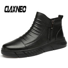 Buy CLAXNEO Man Boots Zipper Casual Ankle Boot Male Leather Shoes Genuine Leather Mens Shoe Big Size directly from merchant!
