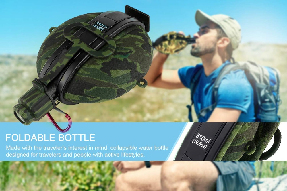 Collapsible Military Water Bottle Hiking Accessories Silicone Water Kettle Canteen with Compass Bottle Cap for Tourism Camping (10)