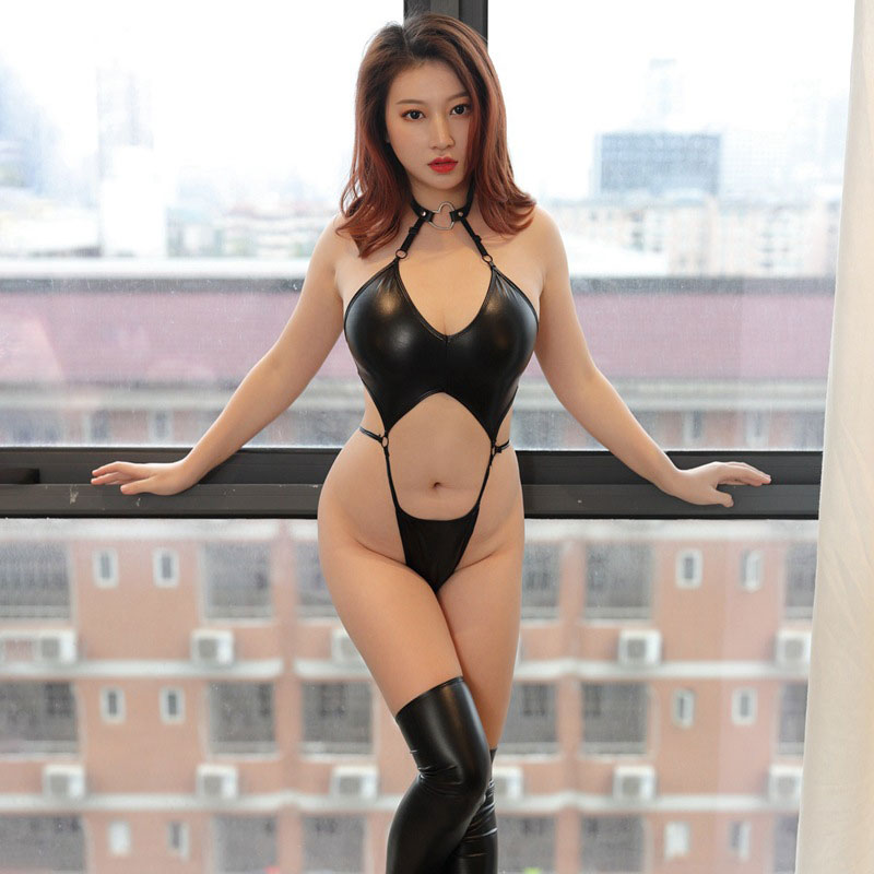 PU Bandage High Cut Faux Letaher Stripe Sexy Tight Bodysuit One Piece Thong Leotard Sexy Tight Blackless Hollow Out 16