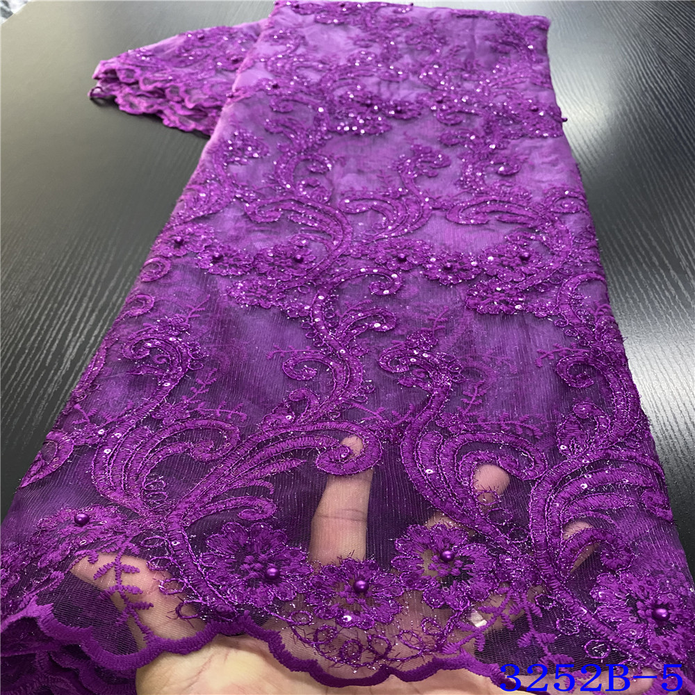 New Arrival Sequin Fabric French Lace Fabric Wedding Dress 2020 Nigeria Net Laces With Beads For Party KS3252B