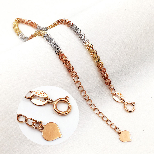Pure 18K Yellow Rose Gold Bracelet Au750 Phoenix tail Link Extension O Word chain For Women Female Fashion Authentic New 19.5cm 6
