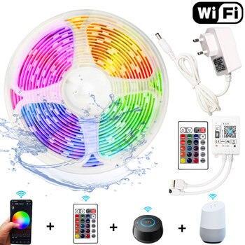 5M 10M 15M WIFI LED Strip RGB 3528 SMD 5050 12V Flexible Tira RGB LED Light Strip Waterproof Home Decoration