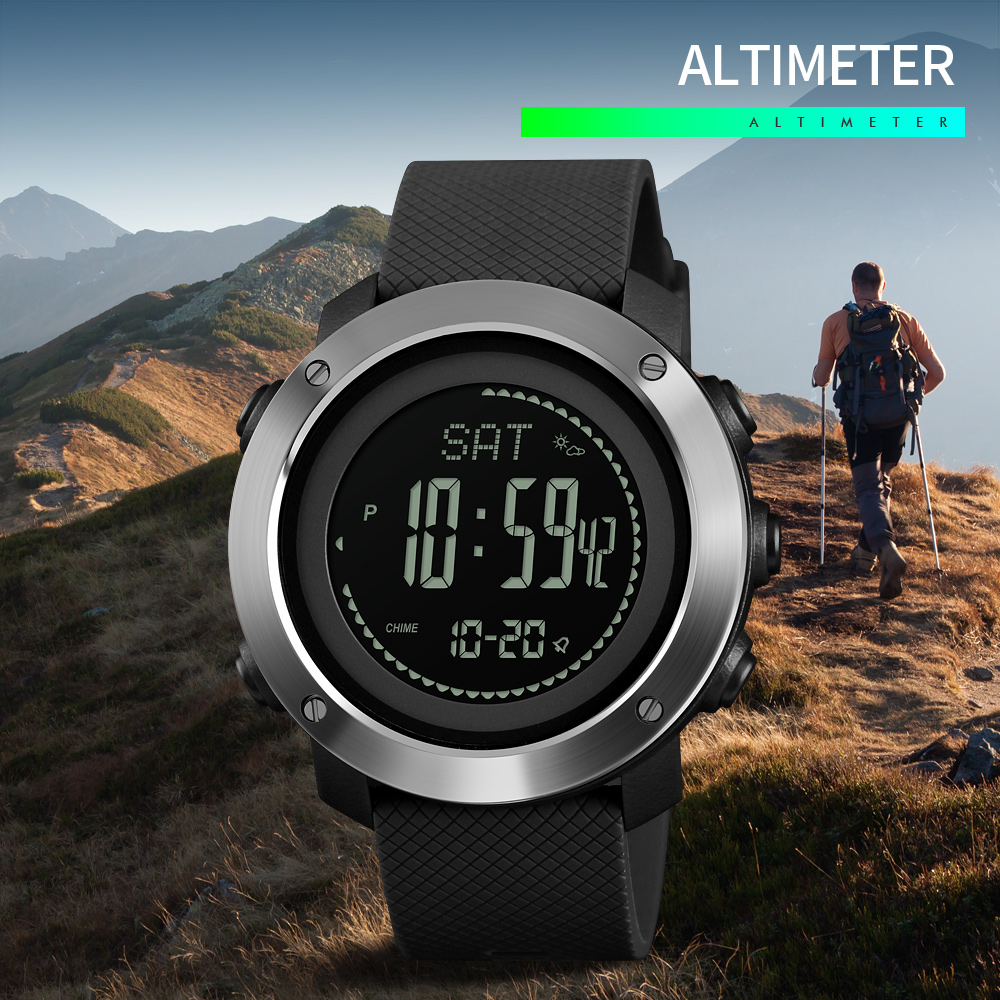 SKMEI 2019 New Altimeter Barometer Thermometer Altitude Men Digital Watches Sports Clock Climbing Hiking Wristwatch Montre Homme