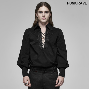 Gothic Sexy Translucent Jacquard Lace Party Dinner Shirt Vintage Fire Dragon bind Long Sleeve Men Blouse PUNK RAVE WY-1160CCM