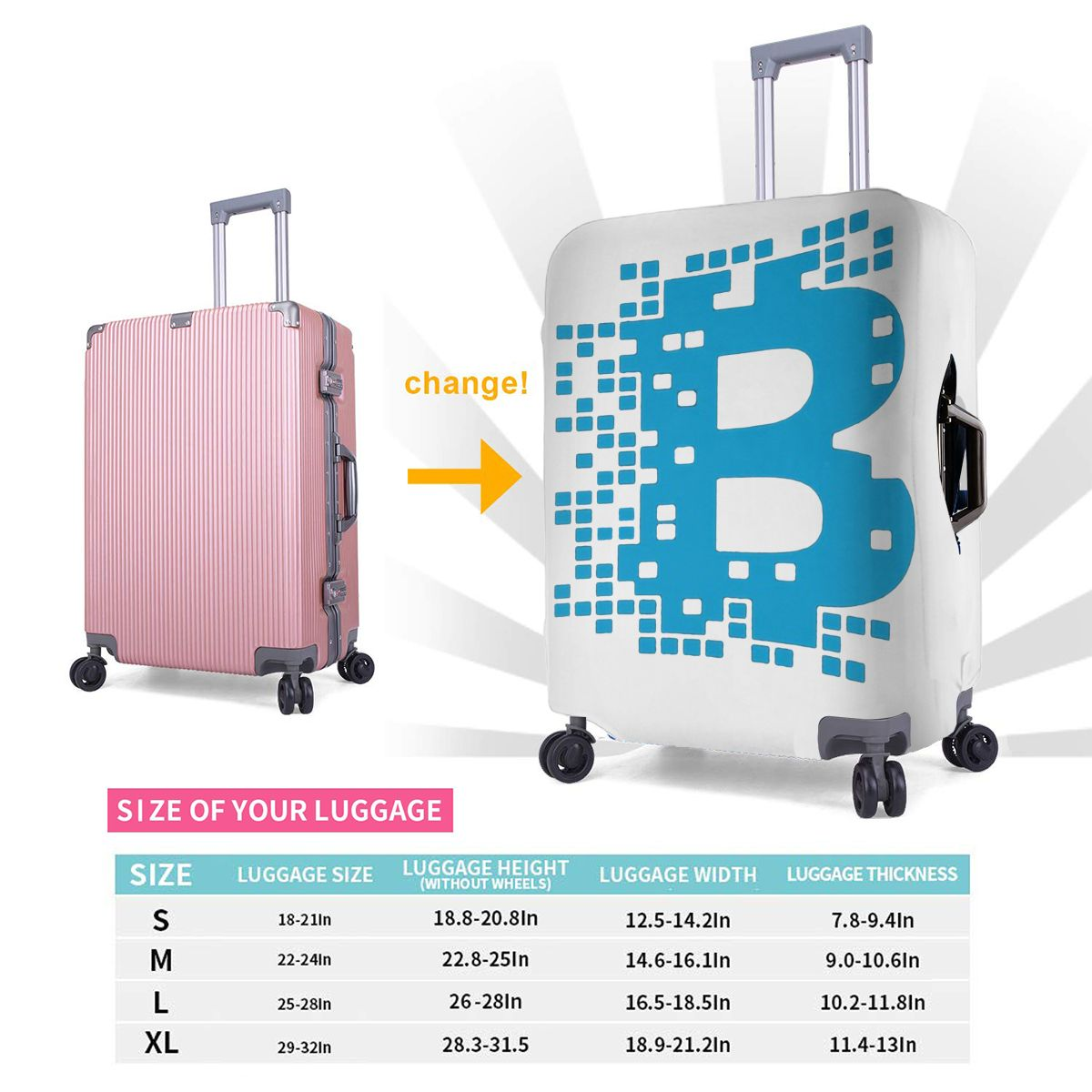 Bitcoin Luggage Cover