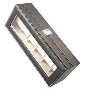 Image 2 - Caja de almacenamiento de reloj de cuero PU de 6 rejillas, gran oferta, soporte de reloj de pulsera rectangular, estuche de exposición de joyería para regalos LL @ 17