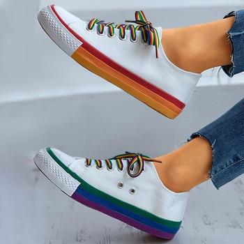 Women Flat Sneakers Lace up Colorful Graffiti Platform Female PU Flats Fashion Ladies Walking Vulcanized Shoes 2021 Spring New 11