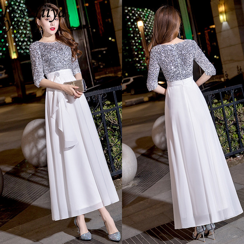 It's Yiiya Evening Dress Half Sleeve O-Neck Plus Size A-Line Robe De Soiree LF174 Sequined Patchwork Zipper Dress Woman Party