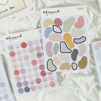 2pcs/pack Morandi Series Expression Stickers Scrapbooking Pure Color Irregular Small Labels Diy Decorative Stickers Stationery small fire cloud figure car stickers multi color 10 pair pack