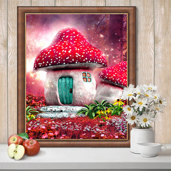 HUACAN Full Square Drill 5D DIY Diamond Painting Mushroom 3D Embroidery Cross Stitch Rhinestone Mosaic