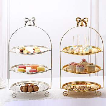 gold silver Three-tier dim sum tray cake tray rack party home decoration