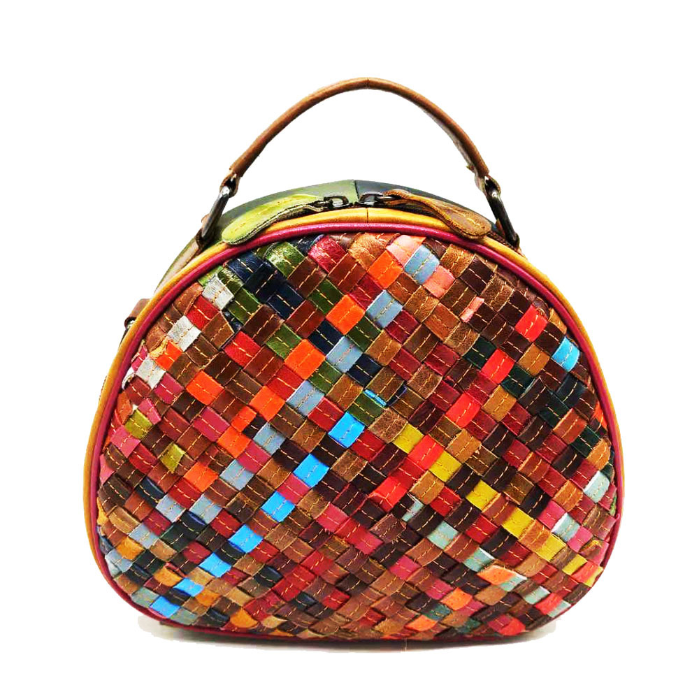 2020 Newest Femal Bosal Sheepskin Braid Shoulder Bag Colorful Woven Top Handle Tote Bag Luxury Designer Handbag