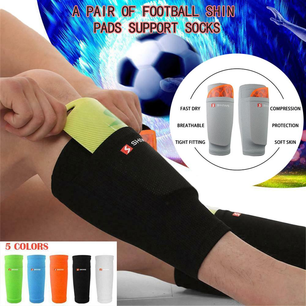 Men Adult Kids Boys Football Leggings Ankle Socks Foot Protect Thick Pad Sleeves Fix the leg shield to prevent the leg board T#