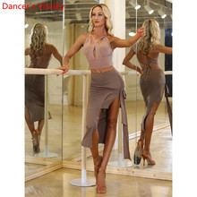 Latin Dance Women Adult Training Clothes Slim Fit Bandage Split Skirt Rumba Samb