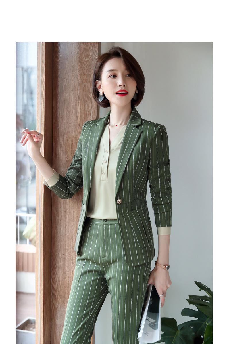 New professional temperament suit women's Casual business high quality striped blazer Female office pants set Women's two-piece