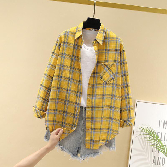 Women Spring Summer Style Blouses Shirts Lady Casual Long Sleeve Turn-down Collar Plaid Printed Blusas Tops ZZ0750 2