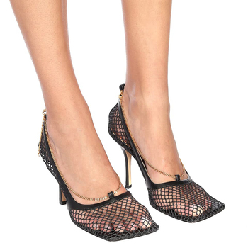 цена 2020 Hollow Women Sandals Summer Slippers Womans Toe Sandals Stiletto Heels High Heels Lace Square Toe Fishnet Mesh Breathable онлайн в 2017 году