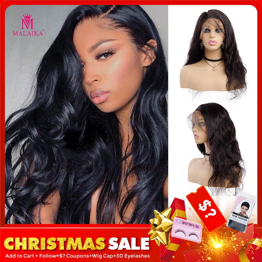MALAIKA Hair Body Wave Full Lace Wig With Baby Hair Natural Color Brazilian Human Hair Pre Plucked 130% Density Wigs