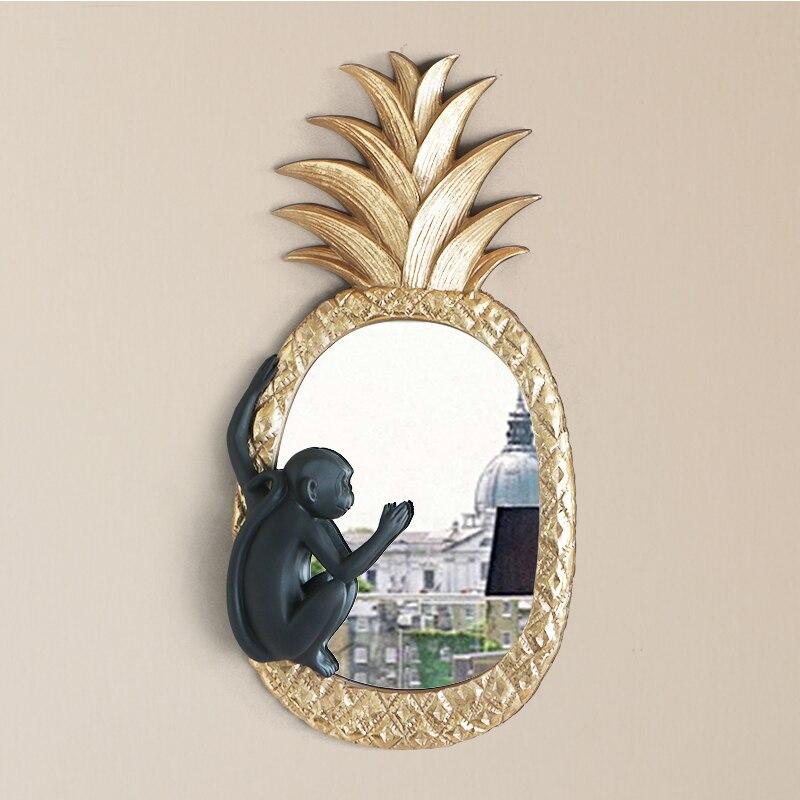 Style nordique 3D stéréo mur de luxe singe ananas miroir résine artisanat décor ornement Mural tenture murale accessoires R2745
