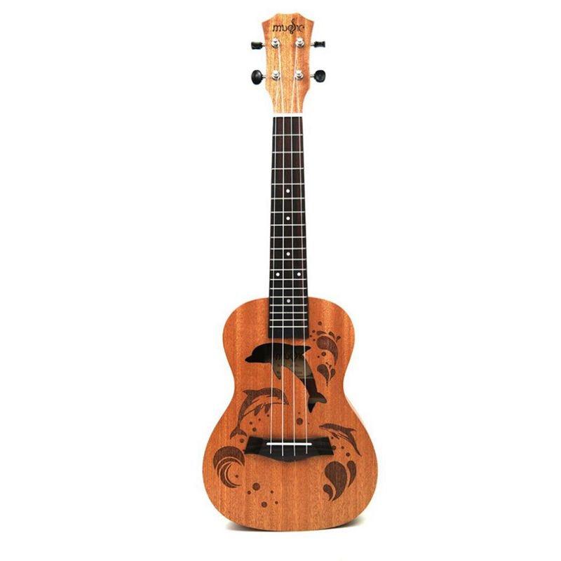 Ukulele Uke 4 Nylon Strings Sapele Rosewood Guitar Dolphin Pattern Universal Acoustic Instrument (21 Inch)