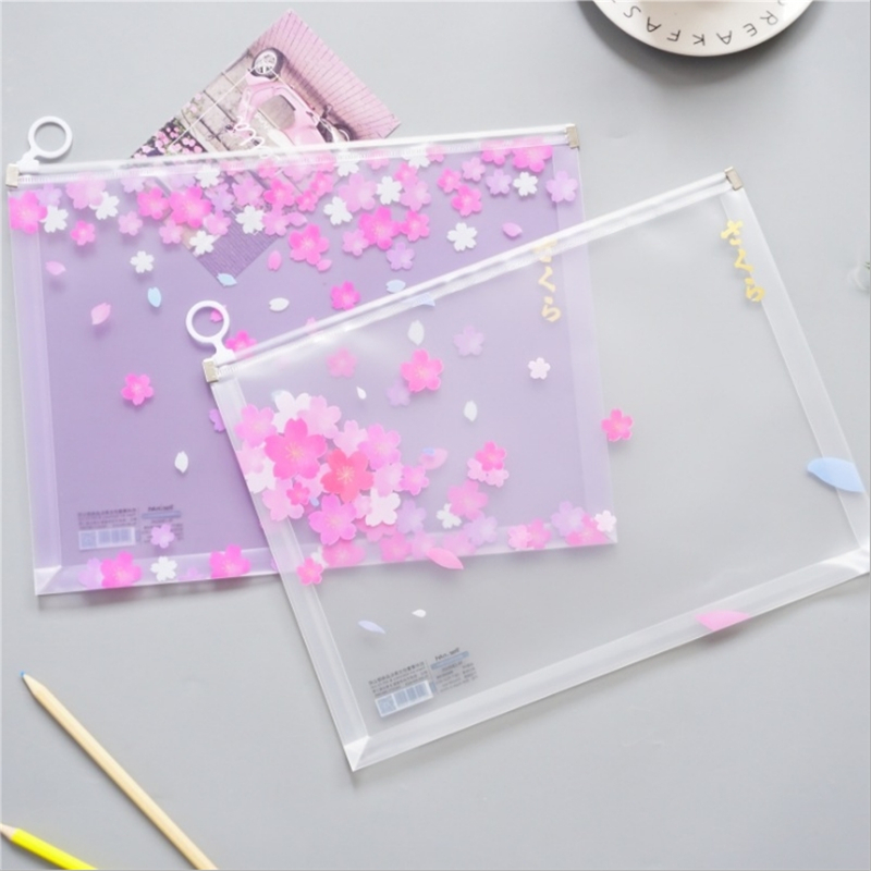 Cartoon Transparent File Bag Briefcase Edge Bag A4 Frosted Portfolio Storage Information Bag Cherry Blossom Pig Package