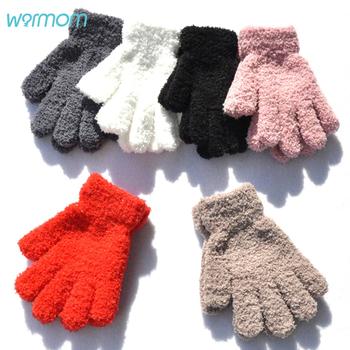 Warmom koralowe polarowe zagęścić dziecięce rękawiczki zimowe utrzymać ciepłe dzieci dziecko pluszowe futrzane pełne palce rękawiczki miękkie rękawiczki dla 7-11 lat tanie i dobre opinie Akrylowe Plus Velvet Stałe Unisex TZ1403 Suit for 7-11 years baby Baby Boys Girls Solid Color Coral Fleece Keep Warm Gloves