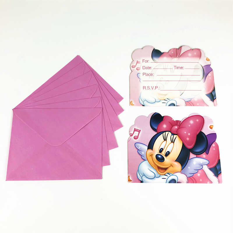 Nieuwe 6pcs card + 6pcs mailer Minnie Mouse Pink Party Uitnodigingskaart Kids Girl Birthday Party Baby Shower supplies Feestartikelen