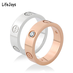 LifeJoys Gold Screw Rings Zircon Stainless Steel Luxury Brand Love Nail Wedding Ring Women Jewelry Phillips With Stone Hot Sale