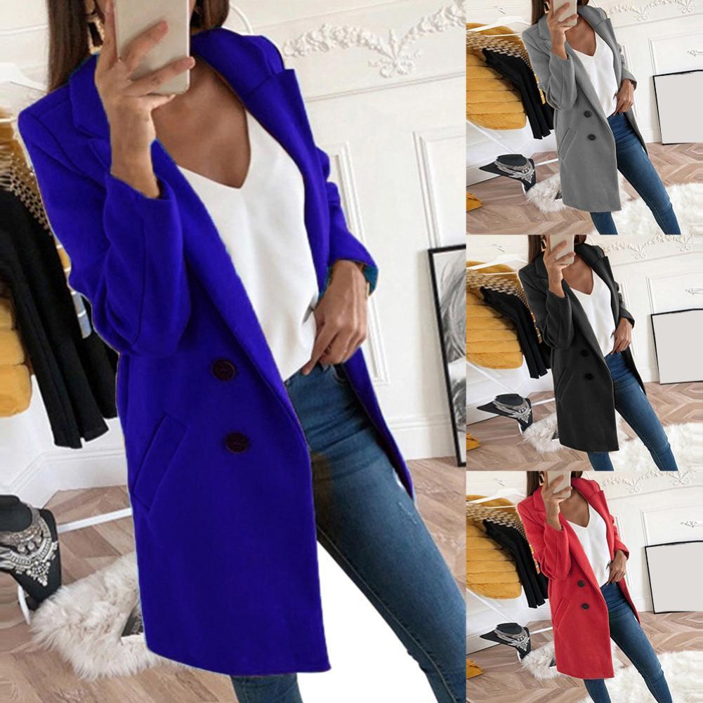 Autumn Winter Women Solid Color Long Cardigan Warm Overcoat Blazer Jacket Coat