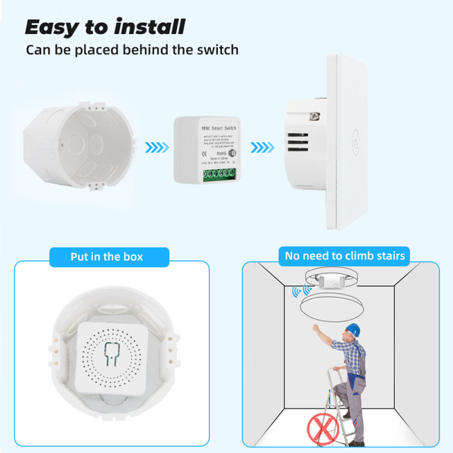 Tuya MINI Wifi Smart Switch 16A 2-way Control Timer Wireless Switches Smart Life Automation Compatible With Alexa Google Home 6