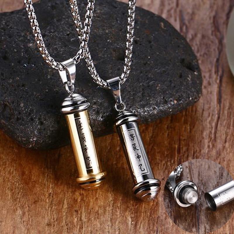 Gebet Schrift Rohr Parfüm Flasche Anhänger Halskette für Männer Frauen Edelstahl Asche Memorial Andenken Einäscherung Schmuck