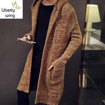 Top Brand Cardigan Male Long Style Hooded Plus Size S-5XL Slim Fit Outerwear Coat Knitted Sweater For Men Sueter Hombre