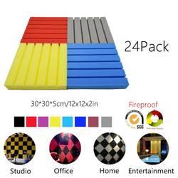 24Pack-Groove Plate Acoustic Foam Recording Studio Live tratamiento acústico absorción de sonido azulejos paneles de insonorización ignífugo