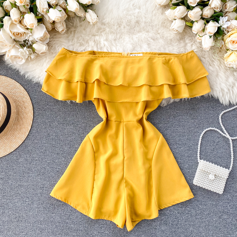Teeuiear Boho Sexy Ruffles Slim 2020 Off Shoulder Jumpsuit Solid Casual Women Rompers Short Summer Playsuit Beach Holiday Romper