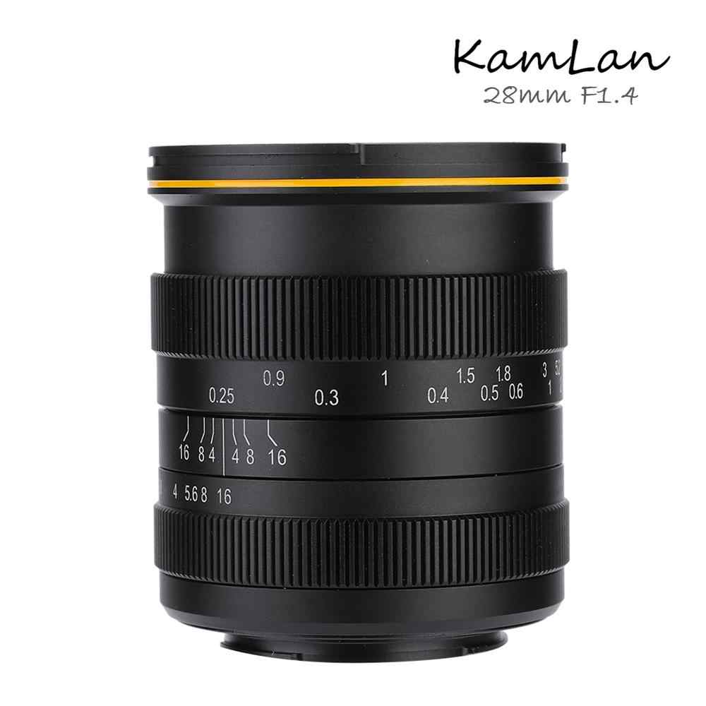 Kamlan 28mm f1.4 gran angular APS-C lente Manual de gran apertura para Canon EOS-M/Sony-E/Fuji-X/M4/3 lente de cámara Canon sin espejo
